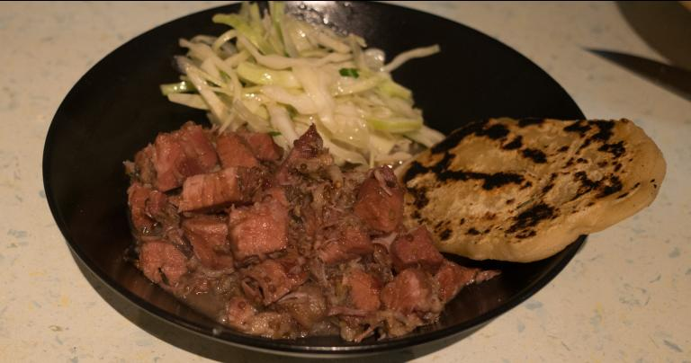 Salt-meat stew, Attic coleslaw salad, and flatbread
