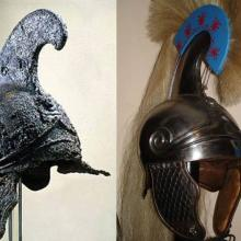 Reconstructed helmet based on Vergina tomb alongside the original.