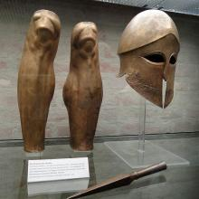 Corinthian Helmet, Greaves (Knemides) and Spear Butt (Sauroter)